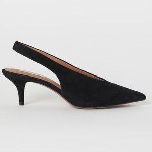 H&M Short Suede Slingback Heels Pointed Toe